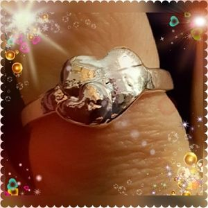 .925DoubleHeartHandMade Hammered Ring